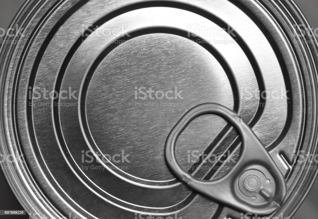 Tin can close up stock photo