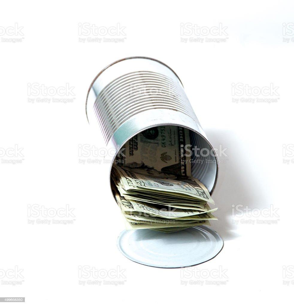 tin can full of money stock photo