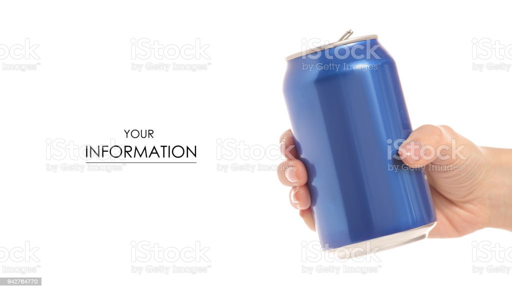 Tin can in hand pattern stock photo