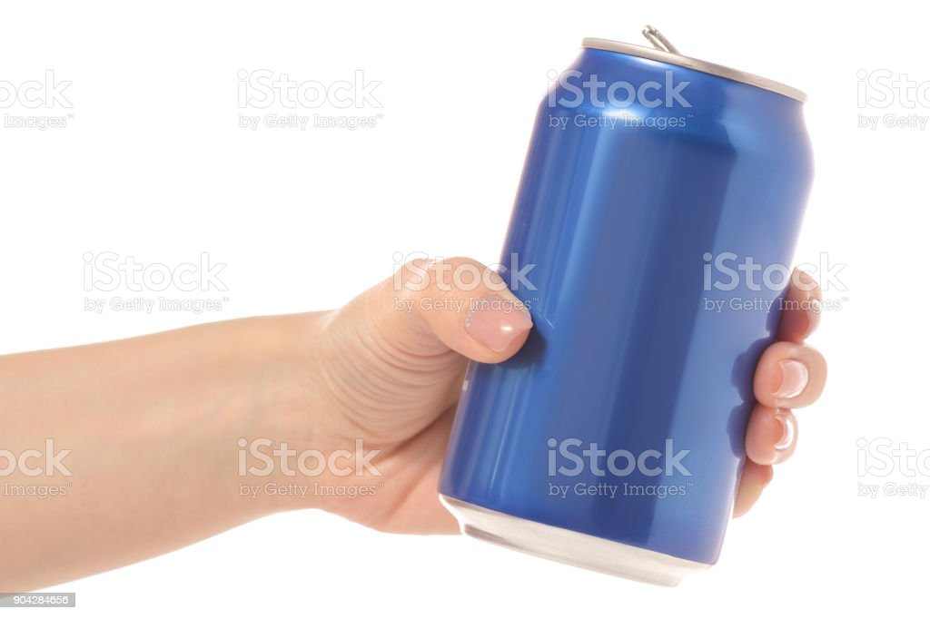 Tin can in hand stock photo