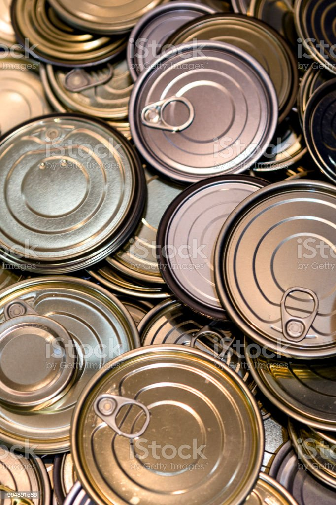Tin can lids background royalty-free stock photo