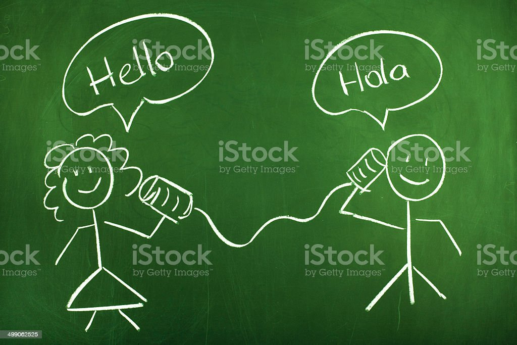 Tin Can Phone Conversation Spanish and English stock photo