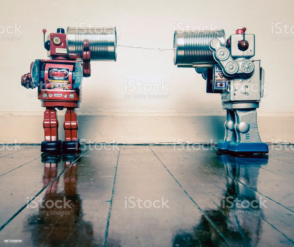 tin can phone robots stock photo