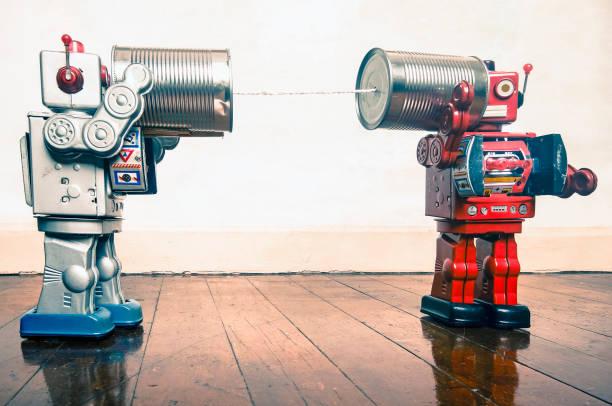 blechdose telefon roboter - converse taylor stock-fotos und bilder