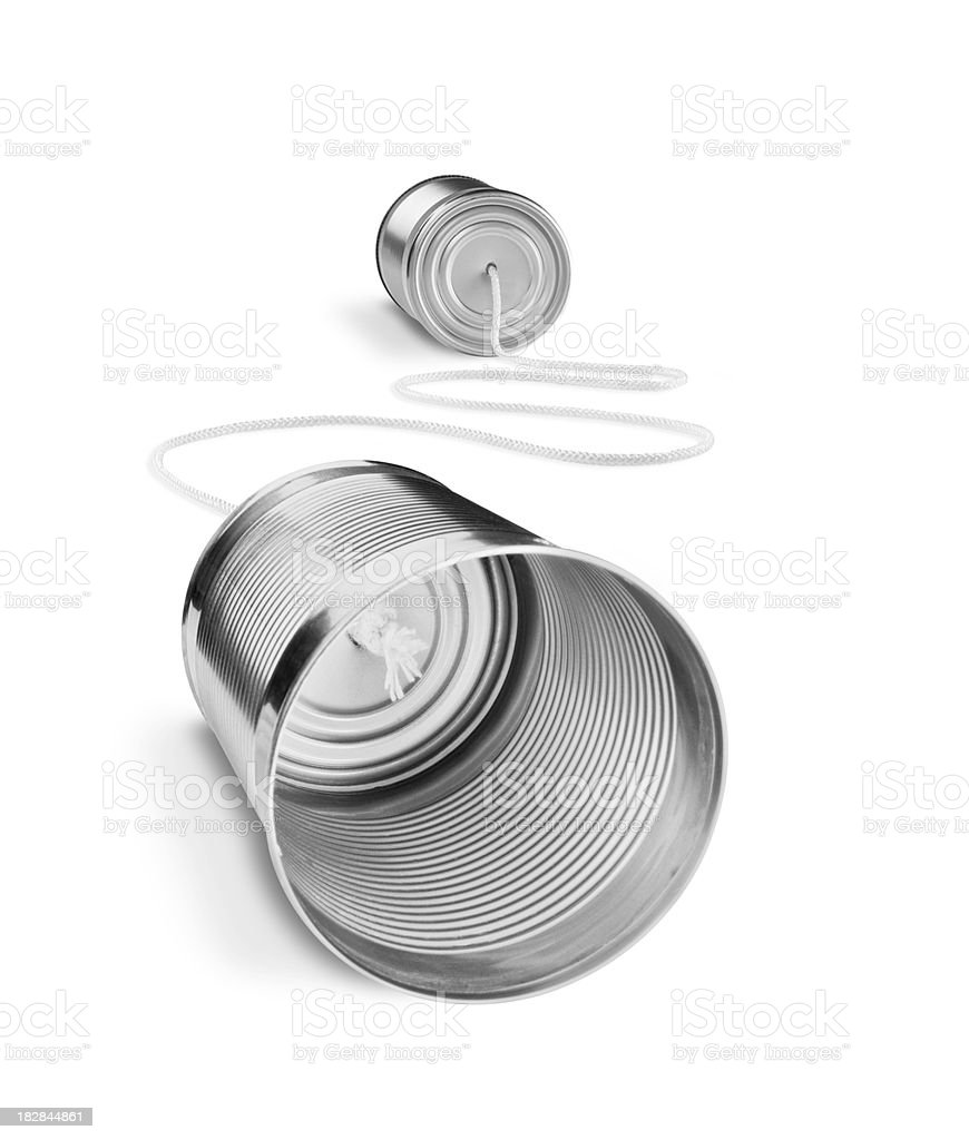 Tin can telephone isolated on a white background royalty-free stock photo