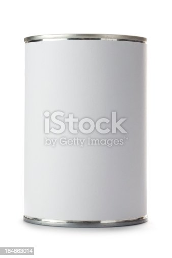 Tin can with a blank label isolated on a white background. Ideal for positioning your own artwork onto.