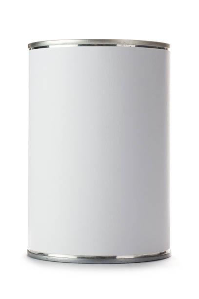 tin can com rótulos em branco sobre um fundo branco - cilindro - fotografias e filmes do acervo