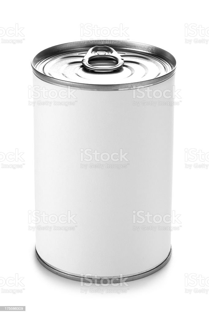 Tin can with a peel lid on a white background stock photo