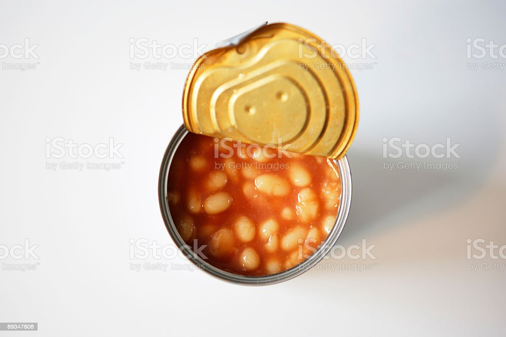 Tin Can with beans stock photo