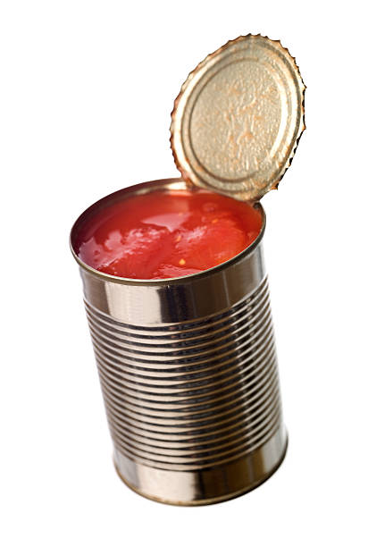 tin can with tomatoes - tomato can stock photos and pictures