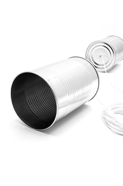 Tin cans and string stock photo