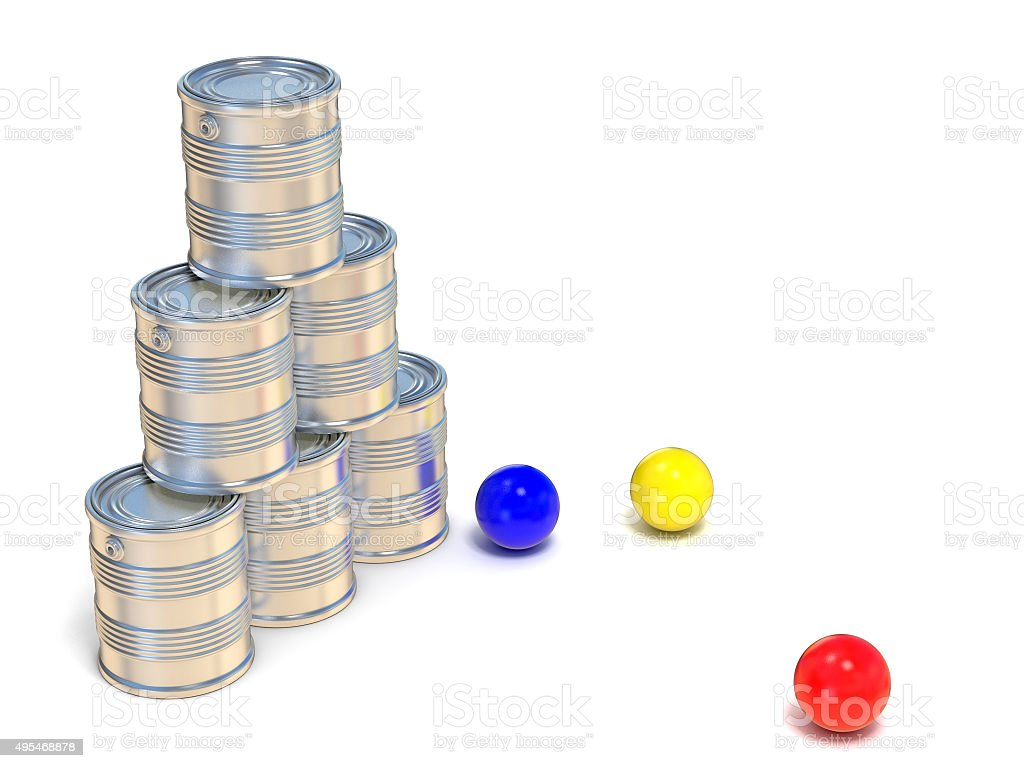 Tin cans and three balls. Side view. 3D stock photo