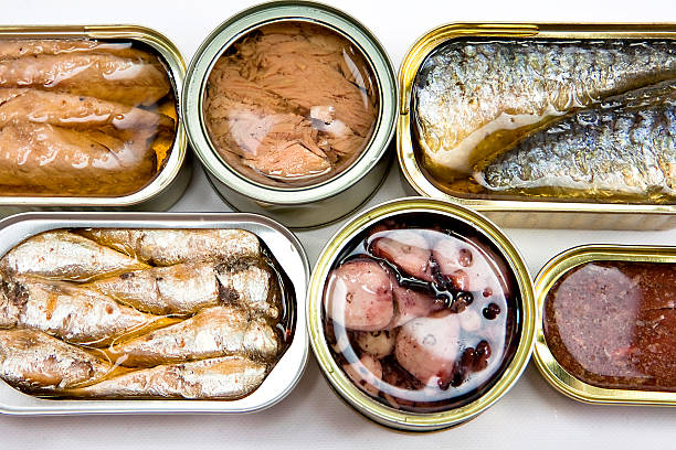tin cans full of seafood type foods like tuna and sardines - 錫 個照片及圖片檔