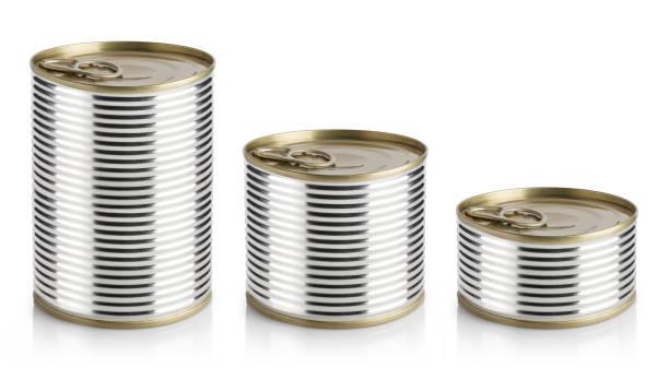 tin cans on white - lata comida gato imagens e fotografias de stock