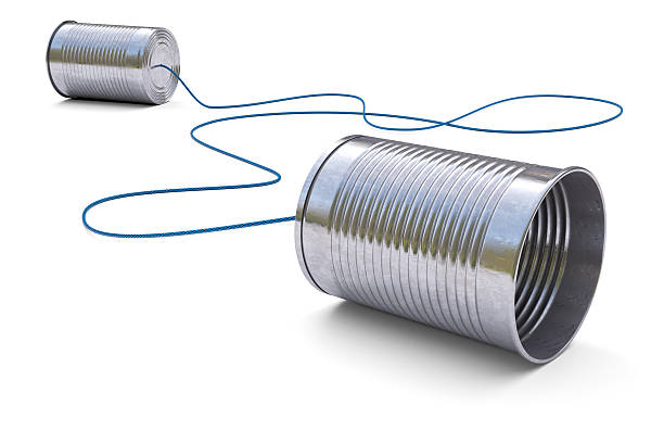 Tin cans telephone stock photo