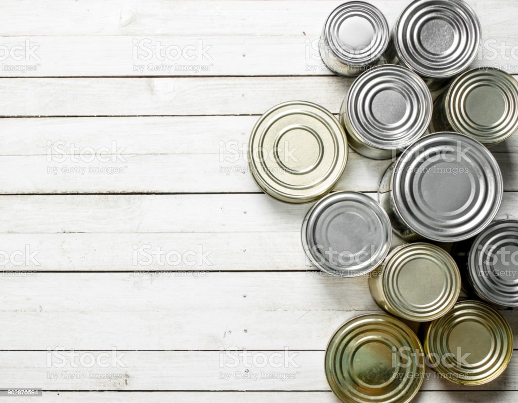 Tin cans with food. stock photo