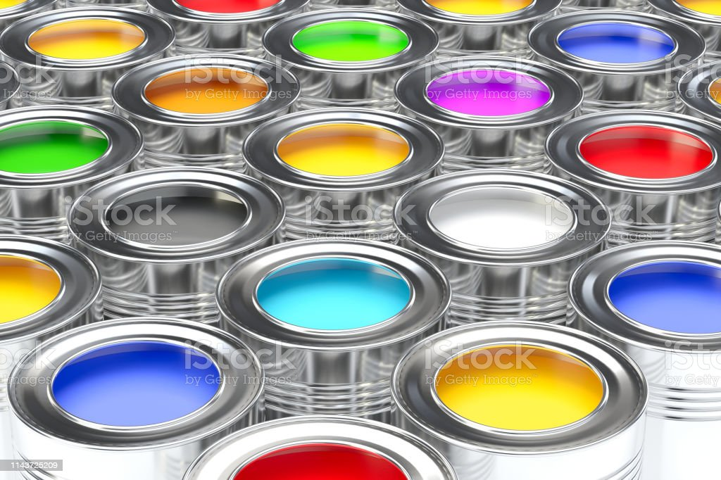 Tin cans with paint concept. Paint can. Paint can. 3d Illustration