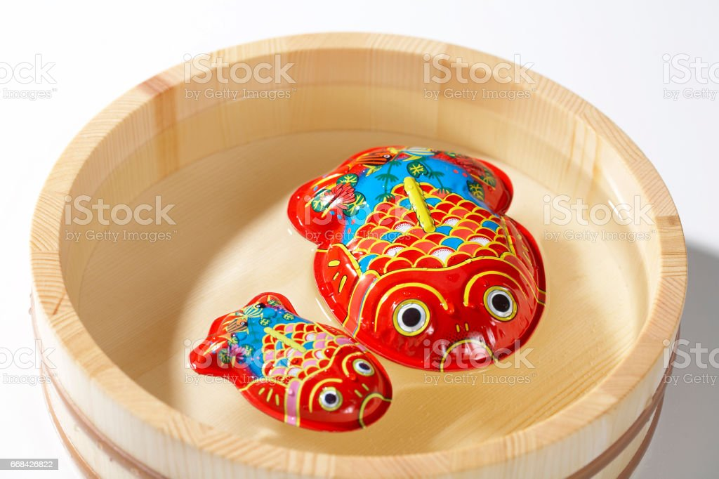 Tin goldfish stock photo