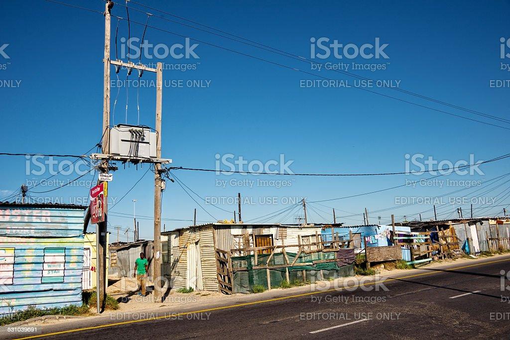 Tin houses in the township of Khayelitsha stock photo