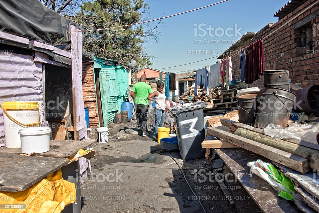 Tin houses in the township of Khayelitsha stock photo