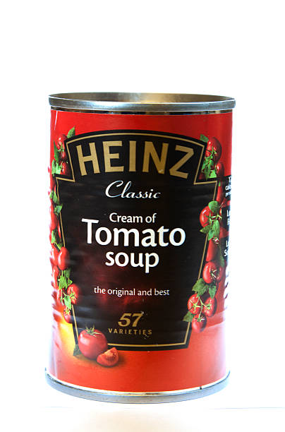 tin of heinz tomato soup - heinz stock photos and pictures