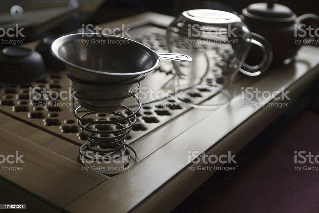 Tin tea cup stock photo