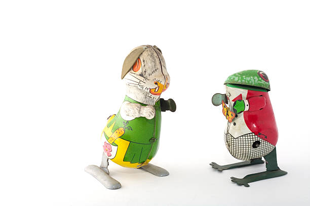 tin toys: rabbit & frog with cloth on - mantonature amfibieen stockfoto's en -beelden