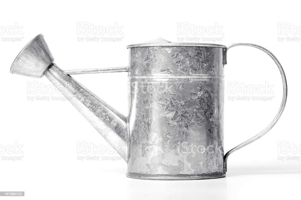 Tin watering can (clipping path), isolated on white background royalty-free stock photo