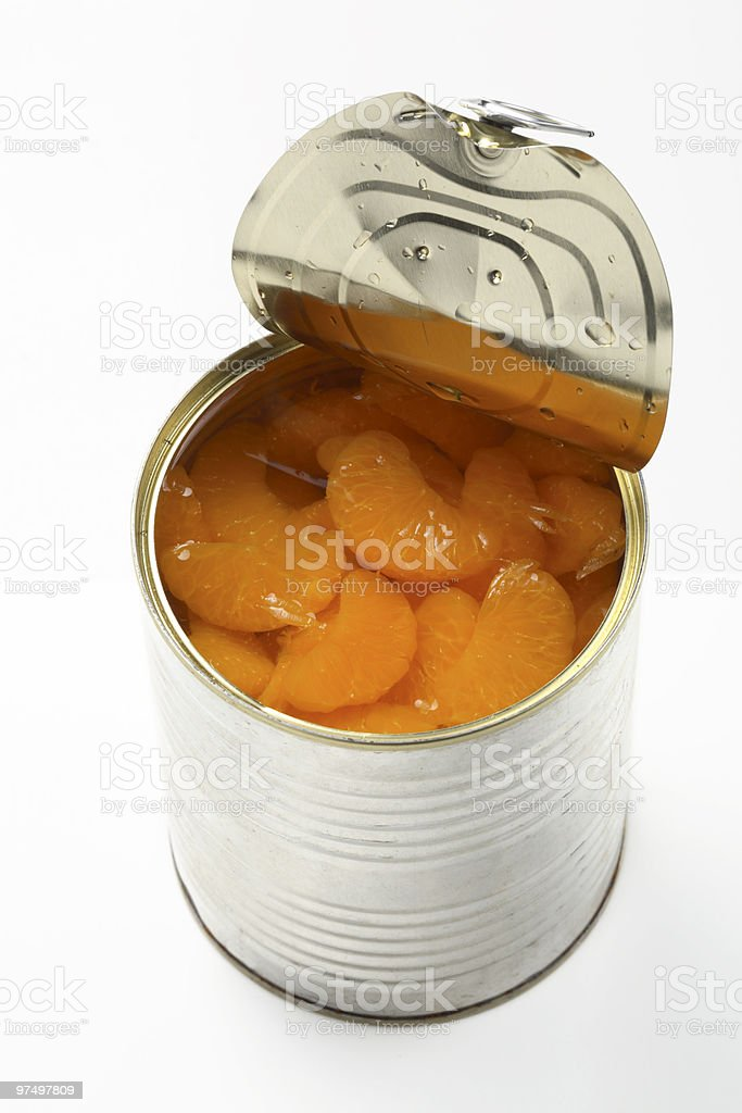 tin with tangerines royalty-free stock photo