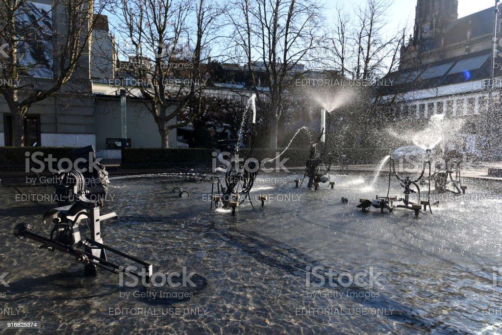 Tinguely Fountain - Basel stock photo