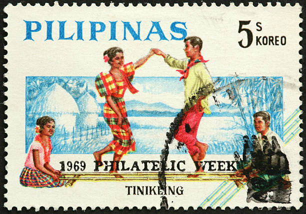 tinikling, traditional Philippine dancers stock photo