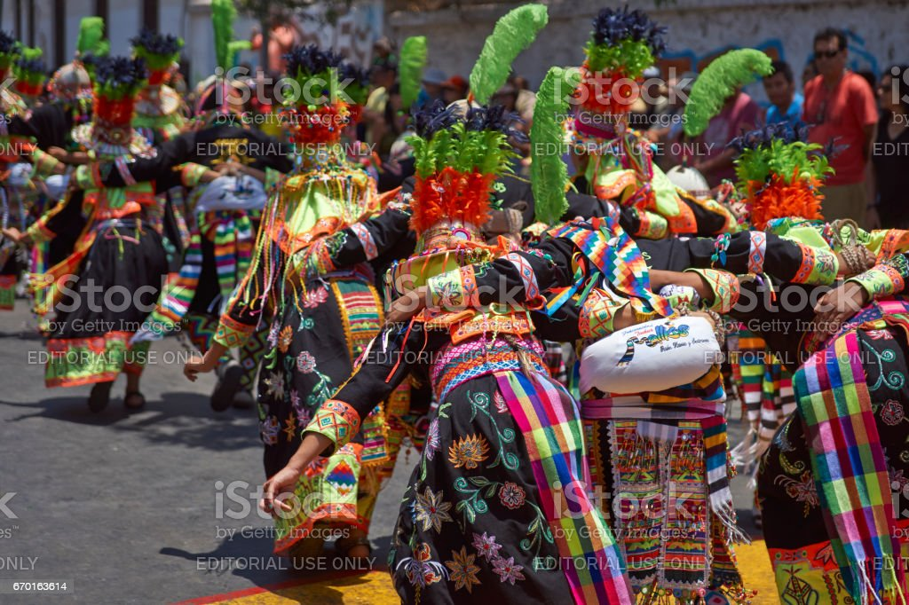 Tinkus dance group at the Arica Carnival stock photo