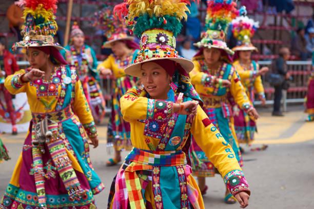 奧魯羅狂歡節的廷庫斯舞蹈團 - 玻利維亞 個照片及圖片檔