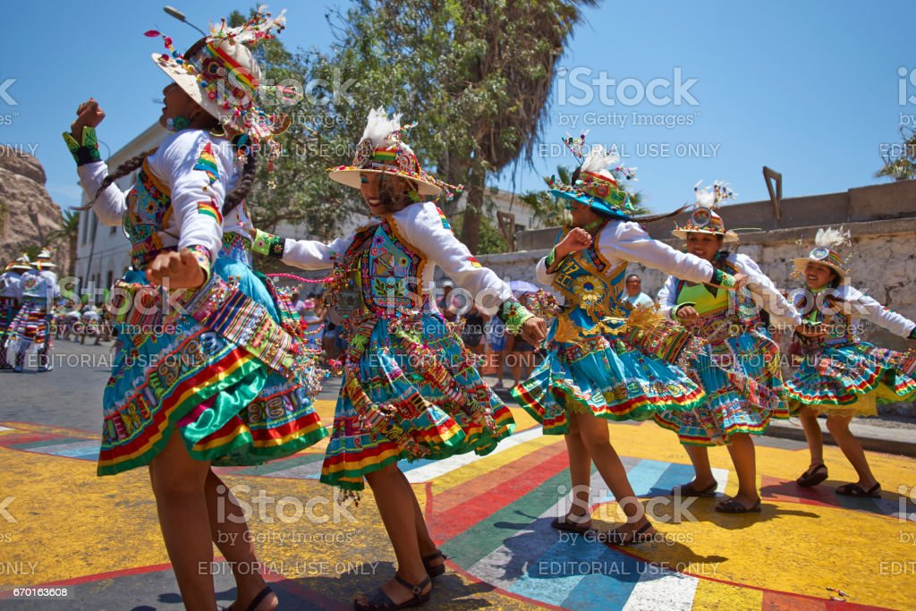 Tinkus dancers at the Arica Carnival stock photo