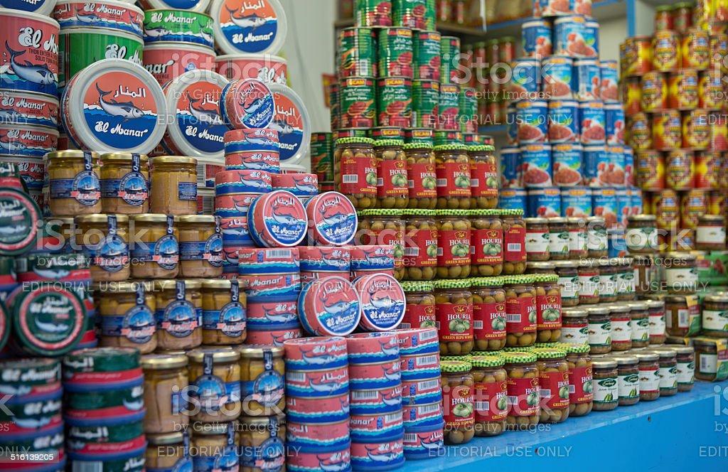 Tinned produce for sale, Dubai, United Arab Emirates. stock photo