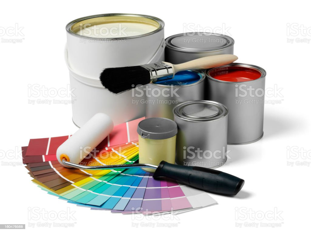 Tins of Paint and Equipment royalty-free stock photo