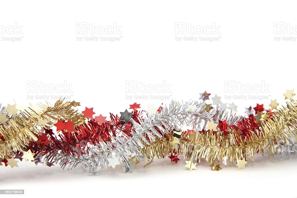 Tinsel and star ribbon isolated on white stock photo