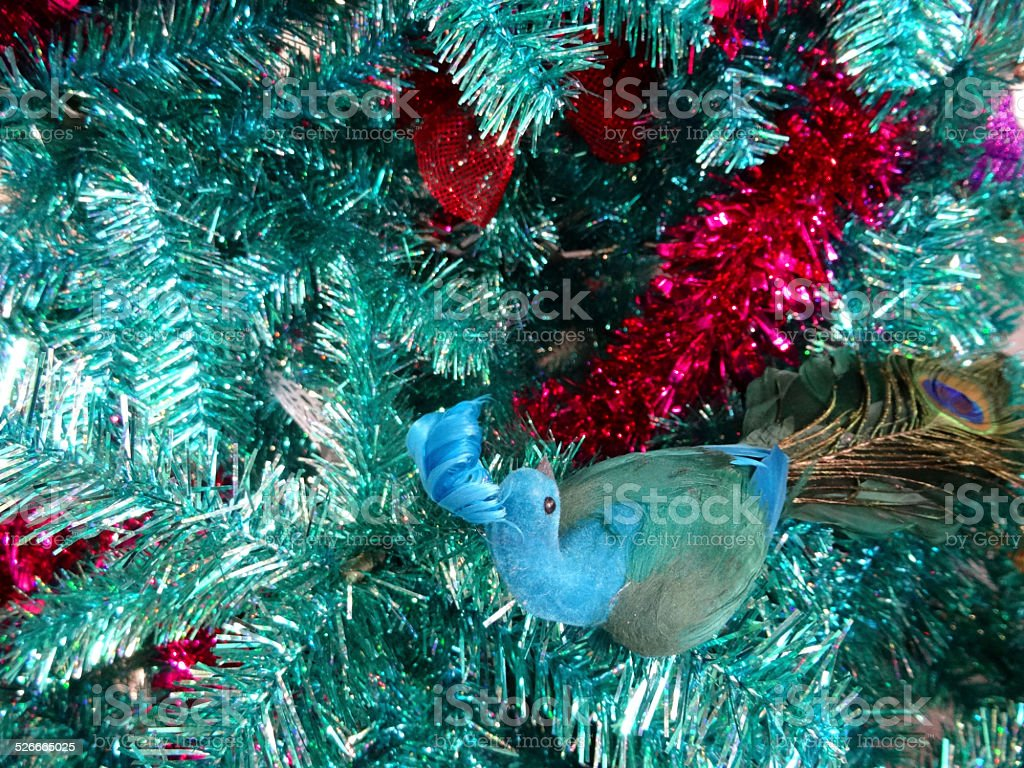 Tinsel Christmas Tree Green Turquoise Peacock Decorations Glitter Red Tinsel Stock Photo Download Image Now Istock