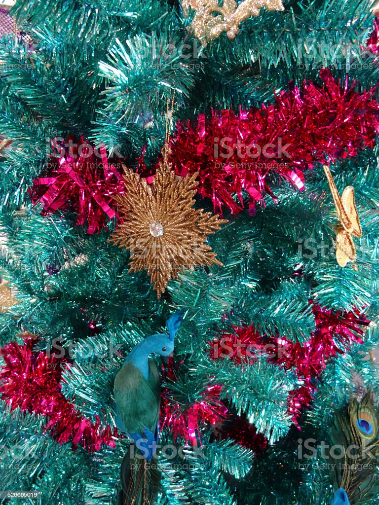 tinsel christmas tree green turquoise peacock gold flowers butterfly decorations royalty - Teal And Gold Christmas Decorations