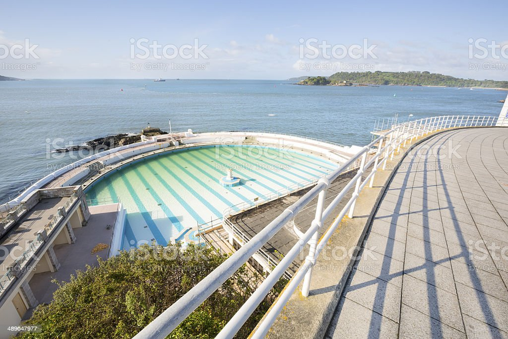 Tinside outdoor swimming pool on Plymouth Hoe stock photo