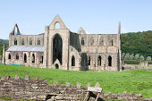 A photograph of Tintern Abbey, Monmouth. The ruins of Tintern Abbey are seen in the center. The abbey is missing its roof, windows, and doors. Scaffolding can be seen inside the far left wall of the abbey. A plastic roof has been placed on a lower portion of the building. It's under renovation.