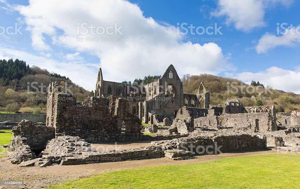 Tintern Abbey Monmouthshire near Chepstow Wales UK popular tourist destination stock photo