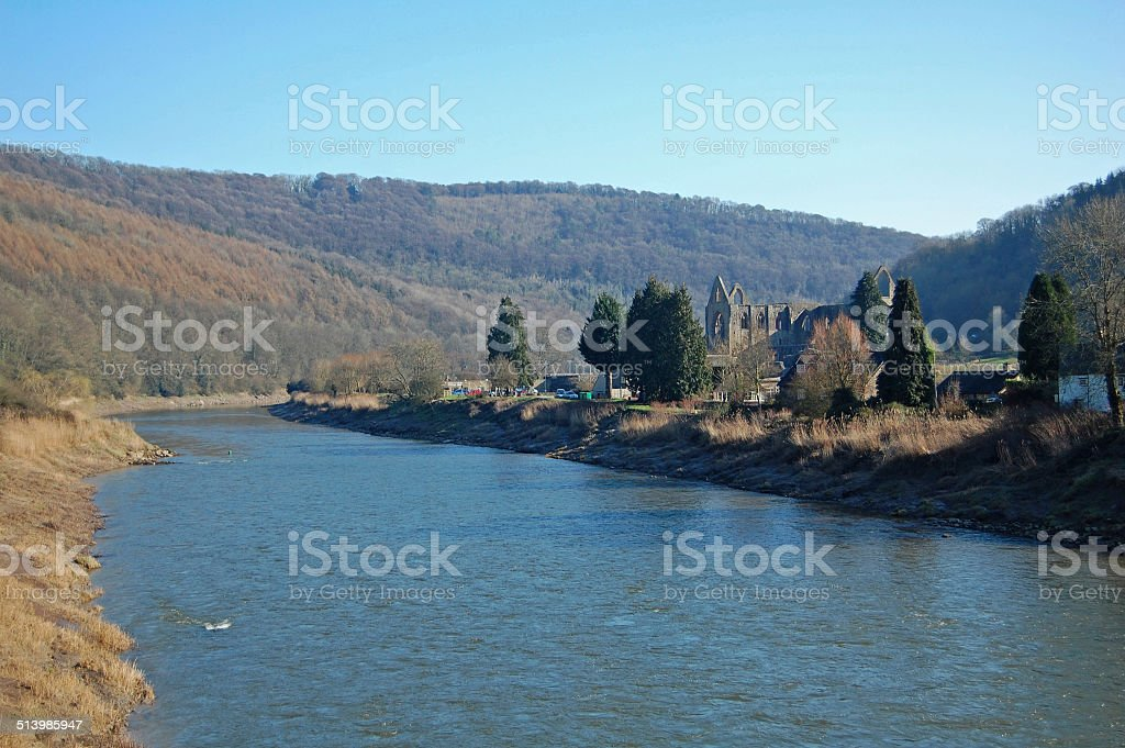 tintern abbey on the river wye stock photo