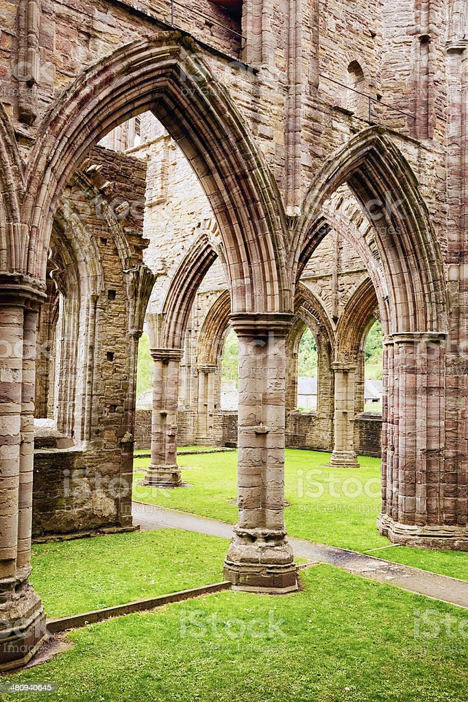 Tintern abbey ruins gothic arches stock photo