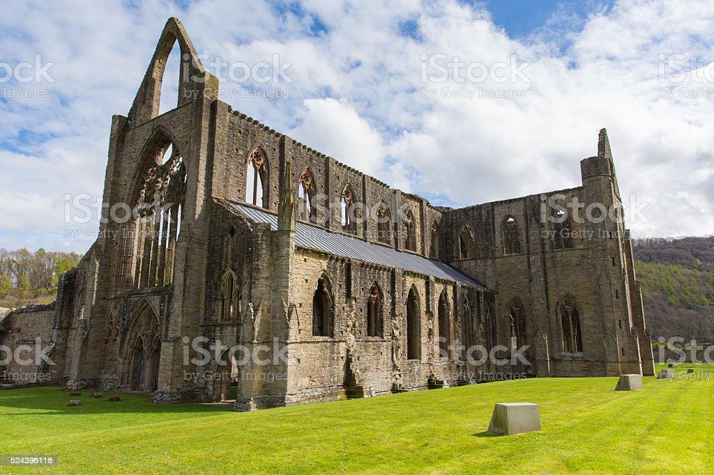 Tintern Abbey ruins near Chepstow Wales UK popular tourist destination stock photo