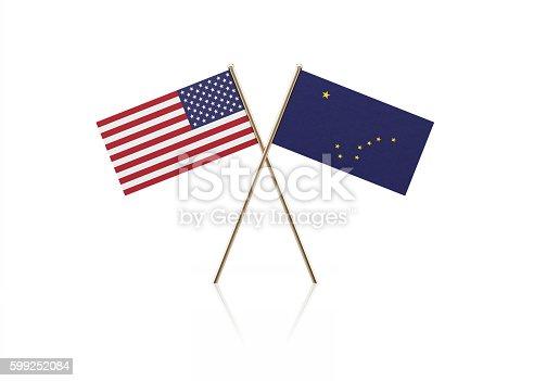 istock Tiny American and Alaska State Flag Pair on Gold Sticks 599252084