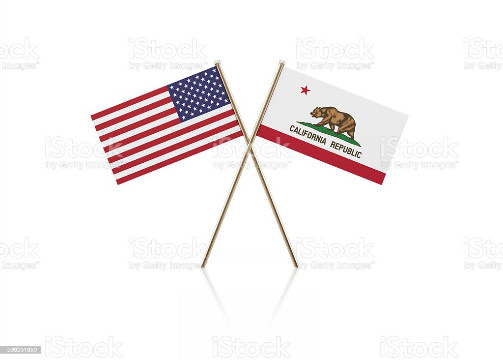 Tiny American and California State Flag Pair on Gold Sticks - foto de stock