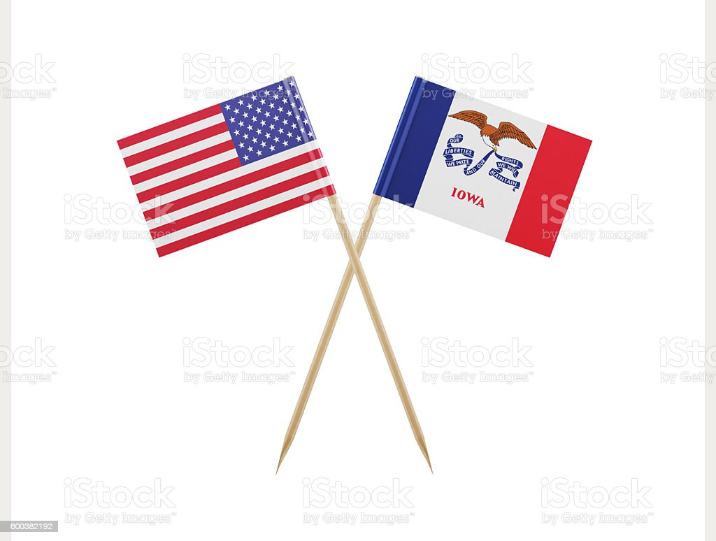 Tiny American and Iowa Flag on a Toothpick stock photo