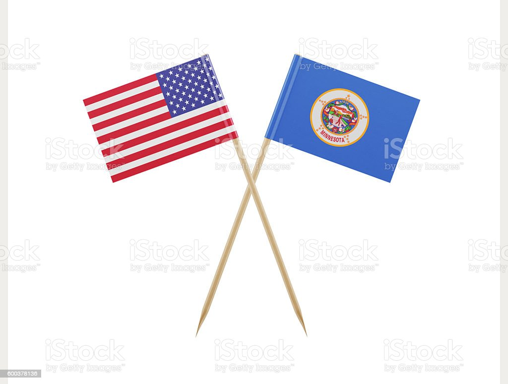 Tiny American and Minnesota Flag on a Toothpick stock photo