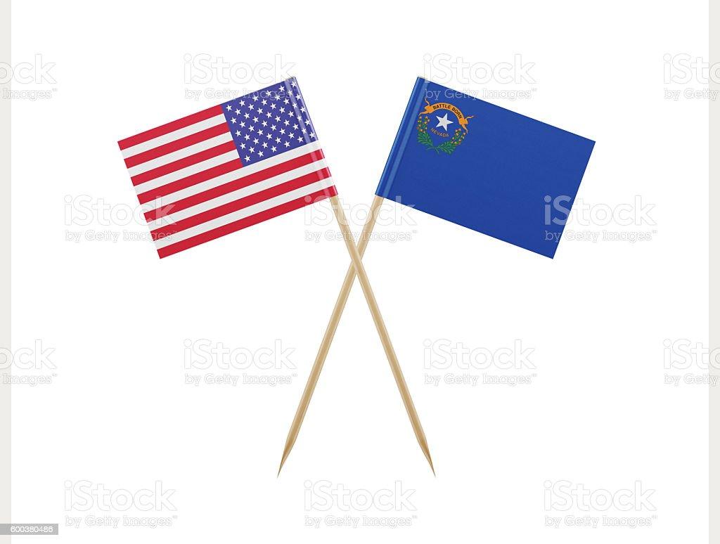 Tiny American and Nevada Flag on a Toothpick - foto de acervo